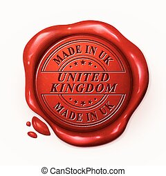 made in UK 3d red wax seal