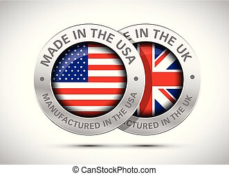 made in uk and usa flag metal icon