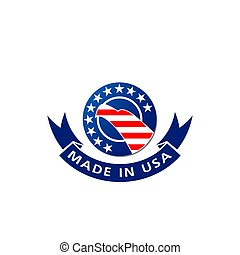 Made in USA American flag and eagle vector icon