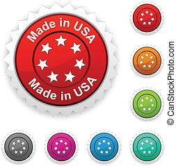 Made in USA award button. Vector.