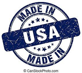 made in usa blue grunge round stamp