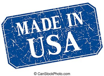 made in usa blue square grunge stamp