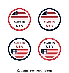 Made in USA emblem badge vector illustration of American flag