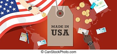 Made in USA emblem written on a label tag with flag patriotic