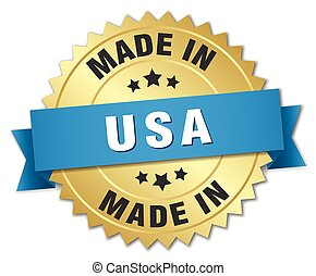made in usa gold badge with blue ribbon