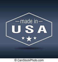 made in USA hexagonal white vintage label