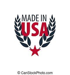 Made in USA label and badge on white background.