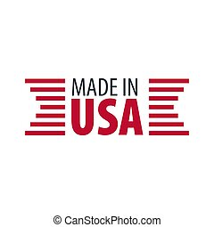 Made in USA label and badge on white background. - Made in...