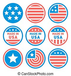 Made in USA Labels Set. Vector