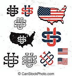 Made in USA monogram vector set. Vintage America logo design. Retro United States seal. US label illustration. Map graphic on grunge background.