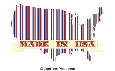 Made in USA patriotic design map and the flag of America