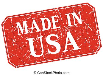 made in usa red square grunge stamp
