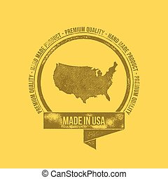 Made in USA Retro Vintage Dirty Badge Label - T-shirt Design