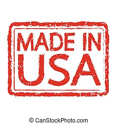 MADE IN USA Rubber Stamp text Illustration
