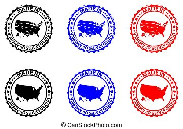 Made in USA - rubber stamp - vector