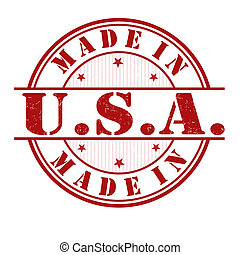 Made in USA stamp - Made in USA grunge rubber stamp on white...