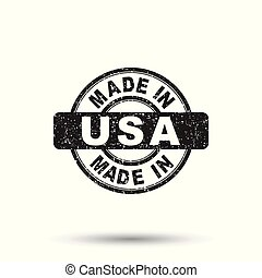 Made in USA stamp. Vector illustration on isolated background
