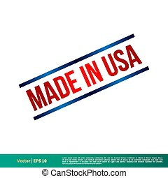 Made in USA Stamp Vector Template Illustration Design. Vector EPS 10.