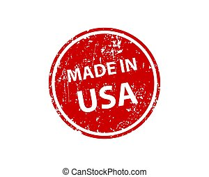 Made in USA stamp vector texture. Rubber cliche imprint. Web or print design element for sign, sticker, label.