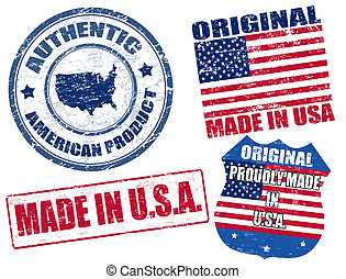 Made in USA stamps - Set of grunge rubber stamp with the...