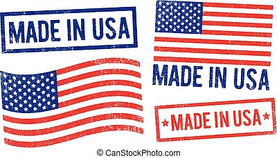 """Vector illustration of different """"Made in USA"""" stamps"""