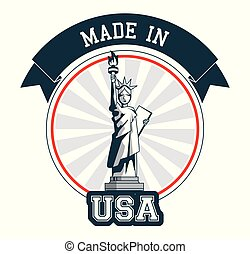 made in USA statue of liberty banner design