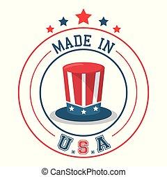 made in USA top hat flag emblem badge