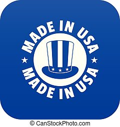 Made in USA top hat icon blue vector isolated on white...