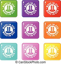 Made in USA top hat icons set 9 color collection isolated on...