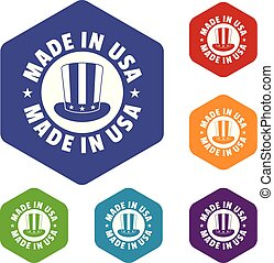 Made in USA top hat icons vector hexahedron - Made in USA...