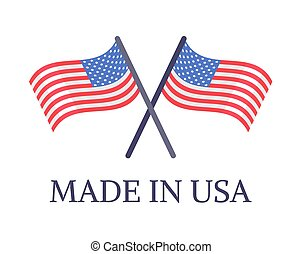 Made in USA Two Crossed Flags Emblem with Text
