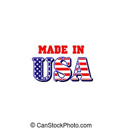 Made in USA icon for premium quality product tag design. Vector America production company symbol of American flag stripes and stars for best quality production label