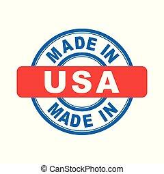Made in USA. Vector emblem flat