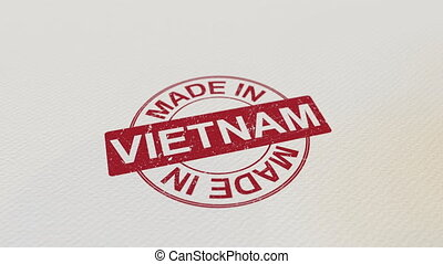 MADE IN VIETNAM wooden stamp conceptual animation. Alpha...
