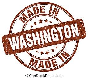 made in Washington brown grunge round stamp