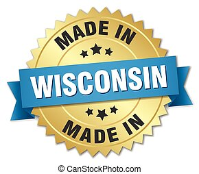 made in Wisconsin gold badge with blue ribbon