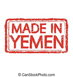 Made in YEMEN stamp text Illustration