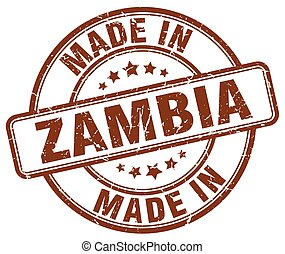 made in Zambia brown grunge round stamp