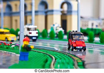 City made of lego type building bricks