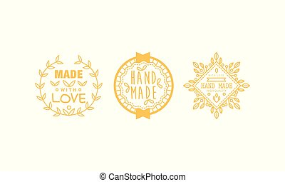 Made with love logo set, golden badges, labels, tags for hand made products vector Illustration on a white background
