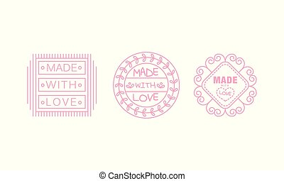 Made with love logo set, pink badges, labels, tags for hand made products vector Illustration on a white background