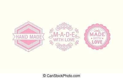 Made with love pink logo set, badges, labels, tags for hand made products vector Illustration on a white background