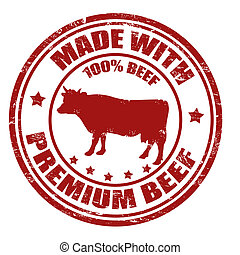 Made with premium beef stamp - Grunge office rubber stamp...