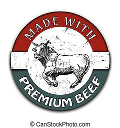 made with premium beef grunge stamp with on vector...