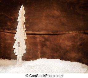 madeira, árvore natal, neve, stylised