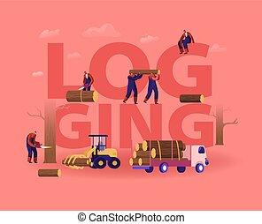 madeira, árvores, log, vetorial, equipamento, bandeira, caricatura, chainsaw, usando, trabalhadores, concept., carregando, lumberjacks, brochure., cartaz, voador, ilustração, apartamento, acto derrubar árvores, corte, madeira, transportation.