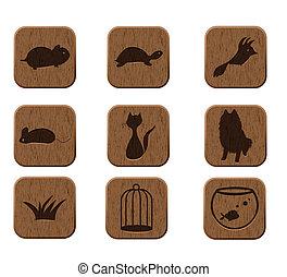 madeira, ícones, jogo, com, animais estimação, silhuetas