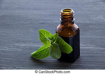 madeira, óleo, essencial, menta, aroma