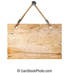 madeira, 3d, placa sinal, em branco