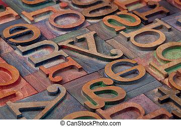 madeira, alfabeto, abstratos